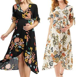 $enCountryForm.capitalKeyWord NZ - Maternity Cotton Dresses Women's Pregnanty Short Sleeve Floral Print Frenulum Long Dress Premama Photography Props Soft Clothes