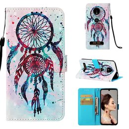 Iphone 3d Skull Australia - 3D Leather Wallet Case For Sony Xperia 10 XA3 Galaxy M10 M20 MOTO Z4 PLAY Flower Bling Diamond Skull Owl Ocean Sea Dreamcatcher Flip Cover