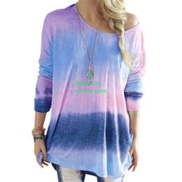 $enCountryForm.capitalKeyWord Australia - New listing Ladies Fashion Designer T-shirt 2019 Autumn New Gradient Color T-shirt Wild Women Tie Dyed Long-sleeved T-shirt