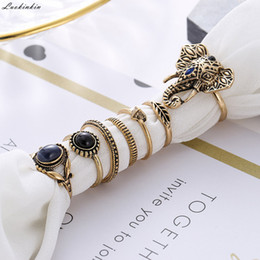 Wholesale golden elephant shape natural black stone ring simple geometric vintage boho rings for women jewelry set