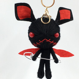 Voodoo pendant online shopping - 2019 Dalaful Hand made Woven Key Chains Rings Holder Knitting Voodoo Doll Demons Monsters Evil Bag Pendant Keyrings KeyChains