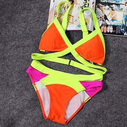 c021b7c1b0e22 Neon Bandage Bikini Set Colorful Patchwork Sexy Swimsuit Woman Triangle Swimwear  Women Push Up Bikinis 2018 Mujer Bathing Suit