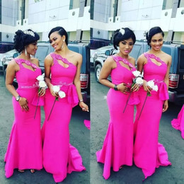 Cheap Red Coral Beads Australia - Cheap Fuchsia Mermaid South Africa Bridesmaid Dresses 2019 New One Shoulder with Beads Long Maid of Honor Gowns Arabic Wedding Guest Dresses