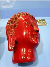 Folk Arts Australia - China Folk old beautifully carved Chinese Red Coral carved Buddha head statue