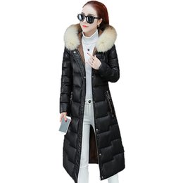$enCountryForm.capitalKeyWord Australia - Long Parkas Winter Women PU Leather Jacket 2019 New Slim High quality Down Cotton Coat Temperament Large size Female Jacket FC30