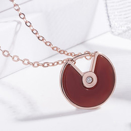 black gold agates NZ - Brand designer 18K rose gold amulet necklace Natural black   red agate white sea shell feminine temperament wild clavicle chain