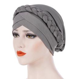 Braiding Hair Cap NZ - 1PC Vintage Bandana Scarves Muslims Clothing Muslim Turban Wraps Women Solid Color Braids Caps Female Hair Accessories