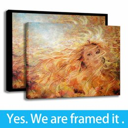 romantic oil canvas NZ - Autumn Wind Romantic Art Background Wall Decor Oil Painting Girl Print on Canvas - Ready To Hang - Framed
