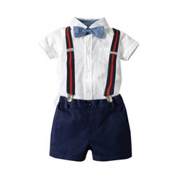 $enCountryForm.capitalKeyWord Australia - Baby Boy Clothes baby suits boys designer clothes Summer baby romper+suspender shorts Boys Clothing Sets newborn outfits infant suits A5854