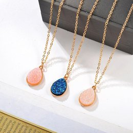 $enCountryForm.capitalKeyWord Australia - Crystal Cluster Necklace Long Chains Necklaces Gold Color Choker Boho Jewelry Imitation Stone Water Drop Pendant Necklace