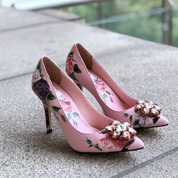 216d94444200 New Rose Printing Sexy Women High Heel Pumps Female Party Dress Shoes Style  Split Leather Stiletto Shoes For Woman