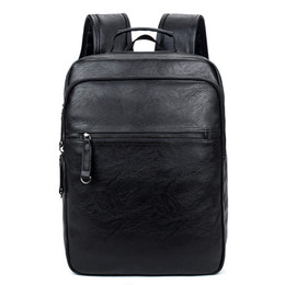 male laptop bags 2019 - 14 Inch Laptop Backpack PU Leather Buiness Backpacks Casual School Bag Male Large Capacity Satchels discount male laptop