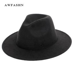 43f4f9e422c New Fashion Solid Color wool Fedora Autumn Winter Women's Felt Hat Men's  Wool Jazz Top Hat Ladies Vintage Classic Large Size Man D19011102