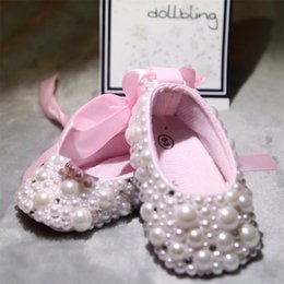 c3596a9c36ae3 Christening pearls Rhinestones clear crystal baby Shoes Custom for Buyer  White Ribbon Match Magic Childhood Keepsake