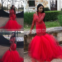 Red High Neck Tulle Dress Australia - Beaded Red Tulle Black Girls African Mermaid Evening Dresses 2019 Long Sleeves Appliques Formal Party Gowns High Neck Arabic Long Prom Dress