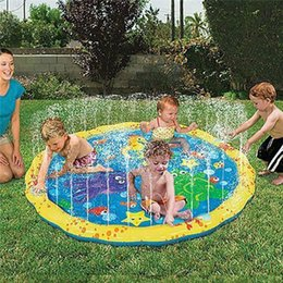 Inflatable Infant swIm pool online shopping - 39inch Inflatable Outdoor Sprinkler Pad PVC Splash Play Mat Pad Toy Perfect for Infants Toddlers Kids Swimming Pool Toys MMA1938