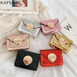 golden hand bags Australia - New Mini Siny Hand Bags Girl PU Tourist Shoulder Bags Golden Silver Princess Childen Bag Party Birthday Gifts Wholesale