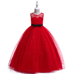 Discount grey flower girl sash 2019 New Arrival Jewel Neck Grey Red Flower Girls Dresses Floor Length Princess Dresses for Kids with Sash Little Girl P
