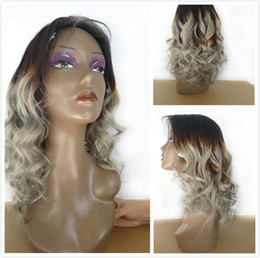 Braided Colored Hair Australia - Fashion Silver Grey Wavy Brazilian Human Hair Braided Lace Front Wig For Black Women Colored 1B Gray Loose Wave Ombre Glueless Full Lace Wig