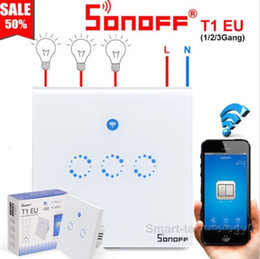 Touch Rf Switch Australia - Sonoff T1 EU Smart Wifi Wall Touch Light Switch 1 Gang 2 Gang Touch WiFi 433 RF APP Remote Smart Home Controller Work with Alexa