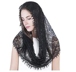 Black Veils Australia - Bridal Accessories Scarf mantilla catholic veil church veil HEAD covering Latin Mass medium black bridal veil lace fabric