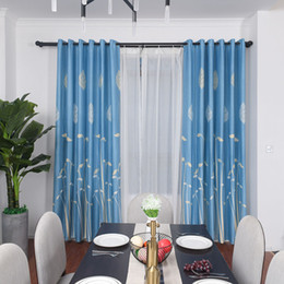 blue home decor curtains Australia - New Modern Leaf Blackout Blue Curtains for Living Room Window Curtains for Bedroom Kitchen Drapes Fabric Blinds Home Decor
