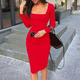 sexy business clothes Canada - Bodycon Women Clothes Sexy Sheath Dress Work Office Elegant Business Pencil Dress Lady Party Strength Solid Black Casual GV300