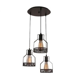 Cage small online shopping - industrial wind restoring ancient ways led small droplight Wrought iron net cage cafe meal hanging lamp light bar