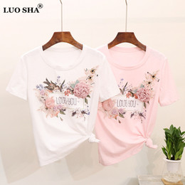 3d flower tee Australia - LUOSHA Women 2019 Summer Short Sleeve Embroidery Appliques Beaded Bird 3D Flowers Stylish Tops And Tees Female T Shirts Mujer Y200110