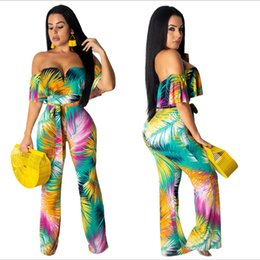 Contrast Painting Australia - Sexy contrast color jumpsuit female painted a collar short-sleeved halter jumpsuit female fashion large size loose wide leg women's clothing