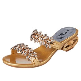 Discount sexy rhinestone flats - JAYCOSIN Women Summer Fashion Rhinestone Slipper Sexy Sandals Large Size High Heels Sandals Crystal Party Shoes Woman Fl