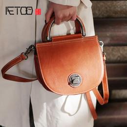 handmade cowhide bags 2019 - AETOO Vintage semicircular shoulder crossbody bag, leather handbag, hundred handmade cowhide red female bag cheap handma