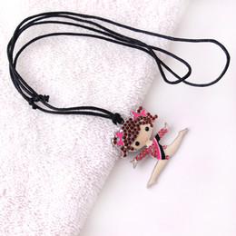 Gymnastics Pendants Australia - Q13 Gymnastics girl pendant Zinc Alloy Rhodium Plated Mixed Color Crystal Cheerleader Girl Pendant rope chain necklace