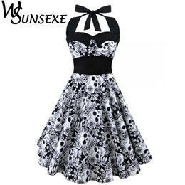 sexy dresses skulls UK - Wsunsexe Retro Vintage Style Sleeveless 3D Skull Floral Printed Summer Women Dress Halter Plus Size Party Sexy Casual Dress