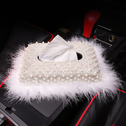 $enCountryForm.capitalKeyWord Australia - White Pearl Home Office Tissue Box with Bling Bling Crystals Car Paper Towel Cover Case Tissue Box for Women Girls