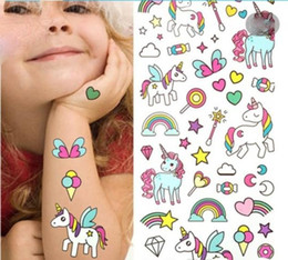 $enCountryForm.capitalKeyWord Australia - Waterproof temporary fake tattoo stickers pink unicorn horse cartoon design kids child body art make up tools