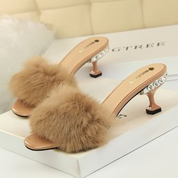 04593400a9f Open Toe Slippers Australia - High Heels New Slippers Women Summer Fashion  Fur Sexy Crystal Stiletto