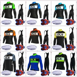 mens long sleeve winter cycling jerseys NZ - ALE team New Winter Thermal Fleece Mens Cycling long Sleeves jersey Polyester Clothes Outdoor sports riding bib pants sets Q82118