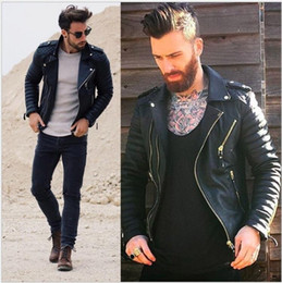 Leather tuxedo online shopping - Handsome Men Long Sleeve Turn Down Collar Leather Clothing Men s Jackets Coats With Zipper Outdoor Motorcycle Windproof Jackets