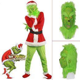 santa suits sale Australia - Hot Sale 2018 Santa Grinch Costume How the Grinch Stole Halloween Christmas Party Cosplay Suit With Mask Outfits for Men WomenMX190923