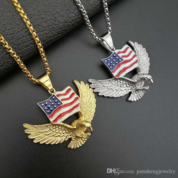 $enCountryForm.capitalKeyWord Australia - Stainless Steel 316L Eagle Flag Pendants Men's Hip Hop Necklace Gold Color Silver Color Stainless Steel 24inch Chain SN187