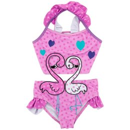 $enCountryForm.capitalKeyWord UK - Infant Kids Girls Cartoon Flamingo Printed Bikini Baby Girls Pink Wave Point Heart Swimwear One-piece Swimsuit Beach Bathing Suit 12M-8years