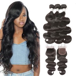 AffordAble hAir online shopping - RXY Affordable Body Wave Human Hair Bundles With Closure Brazilian Hair Weave Bundles With Closure Brazilian Body Wave Bundles With Closure