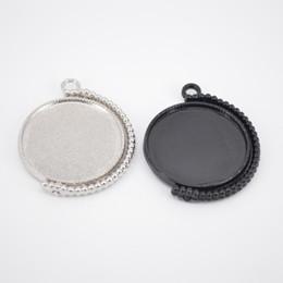 Diy Cabochon Pendant Australia - shukaki 10pcs blank 25mm round cabochon necklace trays diy double side rotating black pendant base settings for jewelry making