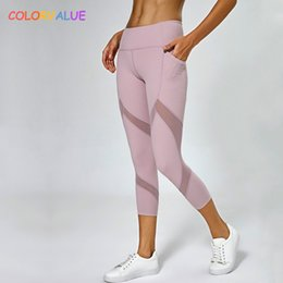 Yoga Pants Xl Australia - Colorvalue Mesh Patchwork Sport Gym Workout Capri Pants Women High Waist Fitness Yoga Cropped Leggings with Side Pocket XS-XL