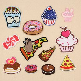 pizza machines 2019 - Pizza Chocolate Cake Cherry Doughnut Embroidery Patches Sew Iron On Applique Repair DIY Badge Patch For Kids Clothes Jac