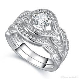 Gemstone Ring Size Gold Australia - 2017 New Arrilval Hot Fashion Jewelry 10KT White Gold Filled Topaz CZ Diamond Gemstones Engagement Wedding Women Bridal Ring Set Size 5-11