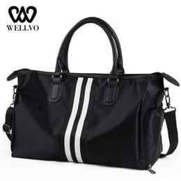 Luggage Hand Bags Australia - Unisex Nylon Travel Bag Women Duffle Handbag Hand Luggage Shoulder Bags Couple Stripe Crossbody Tote Short Trip Packing XA716WB