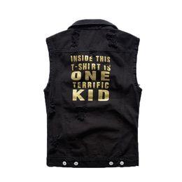 $enCountryForm.capitalKeyWord UK - Fashion Men's Denim Vest Black Letter Printed Waistcoat Spring Autumn Sleeveless Jackets for Male
