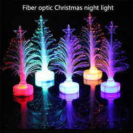 Christmas trees fiber optiC lights online shopping - Creative Colorful Glowing Fiber Optic Christmas Tree Color Ornament LED Christmas Lights Mini Christmas Tree